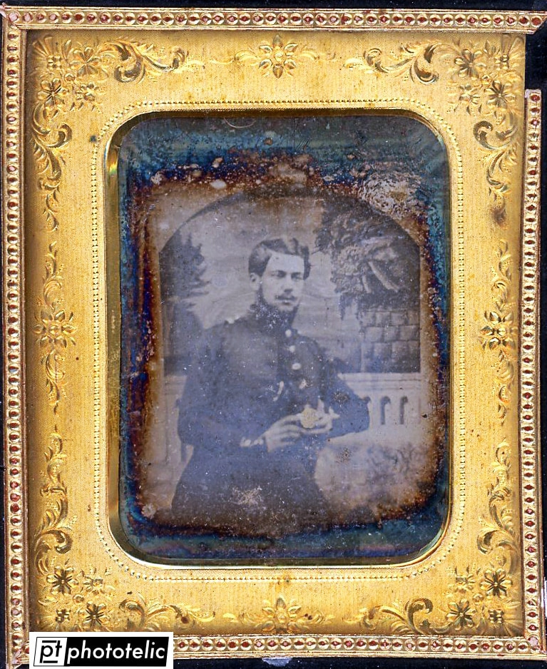 Daguerreotype of a soldier - Before