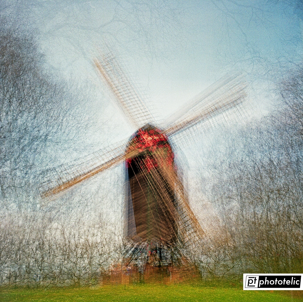A multiple exposure of a windmill on Fuji Pro 400H Film